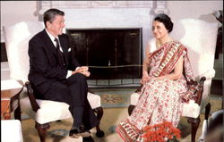 President Ronald Reagan Meets With India's Prime Minister Indira Gandhi