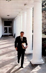President Reagan Steps Briskly Across The Rose Garden