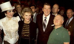 President And Mrs. Reagan Greet Ann Miller And Mickey Rooney
