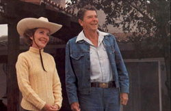 President And Mrs. Regan Appear Relaxed And Happy