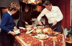 Ronald Reagan Carves Thanksgiving Turkey