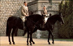 President Reagan And Queen Elizabeth Ii Ride Near Windsor Castle