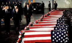 Nancy And President Reagan Sorrowfully View The Decorated Caskets Of Marines Killed In Beirut