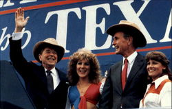 President Reagan And Vice President Bush Acknowledge Cheers In Austin