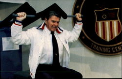 President Reagan Tests Some Of The Sports Training Equipment