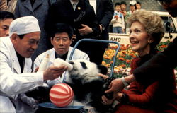 First Lady Nancy Meets One Of The Beneficiaries At The Peking Zoo