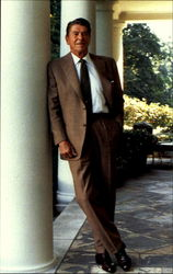 President Reagan Stands Outside The Oval Office
