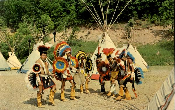 Colorful Indian Dancers Performing Traditional Tribal And Ceremonial Dances Cherokee North Carolina