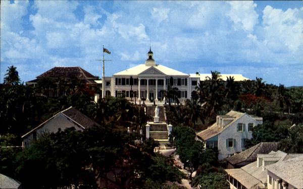 A Front View Of Government House Nassau Bahamas Caribbean Islands