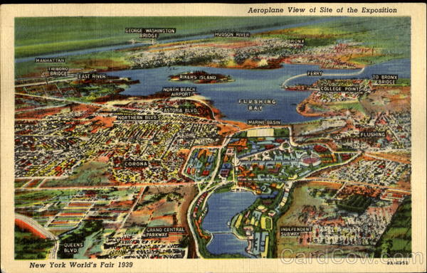 Aeroplane View Of Site Of The Exposition 1939 NY World's Fair