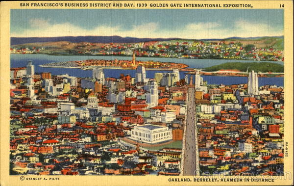 San Francisco's Business District And Bay California