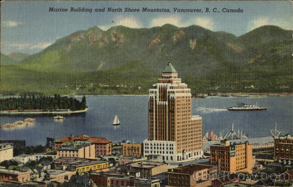 Marine Building And North Shore Mountains Vancouver Canada