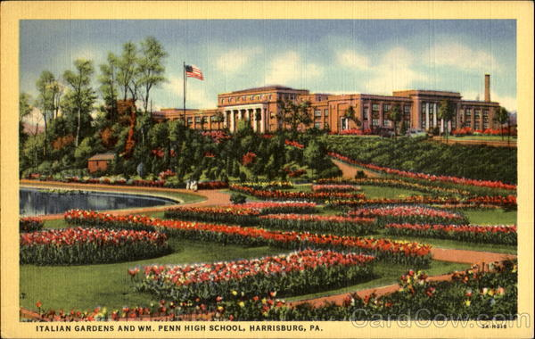 Italian Gardens And Wm. Penn High School Harrisburg Pennsylvania