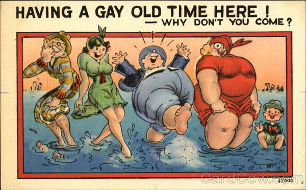 Having A Gay Old Time Here! Why Don't You Come? Comic, Funny