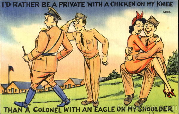 I'D Rather Be A Private With A Chicken On My Knee Comic