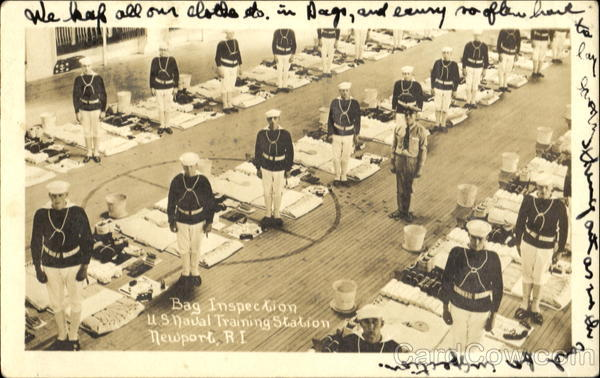 Bag Inspection U. S. Naval Training Station Newport Rhode Island