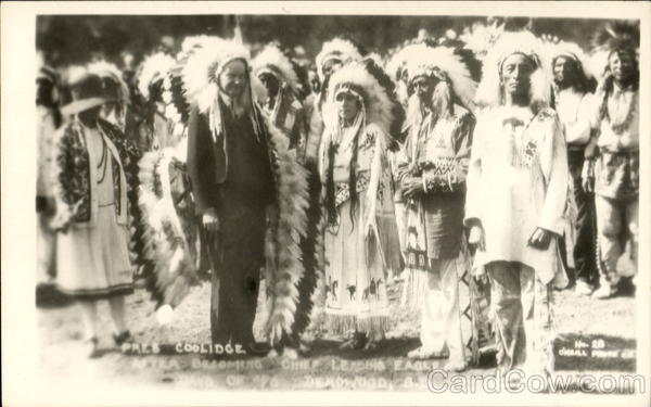 Pres. Coolidge After Becoming Chief Leading Eagle Deadwood South Dakota