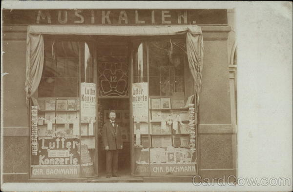 Storefront Sheet Music & Postcards Germany Buildings