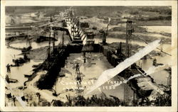 Construction Period Of Dam Postcard