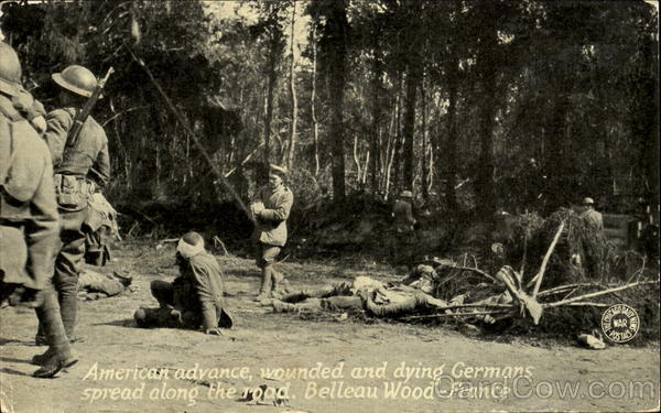 American Advance Wounded And Dying Germans Military