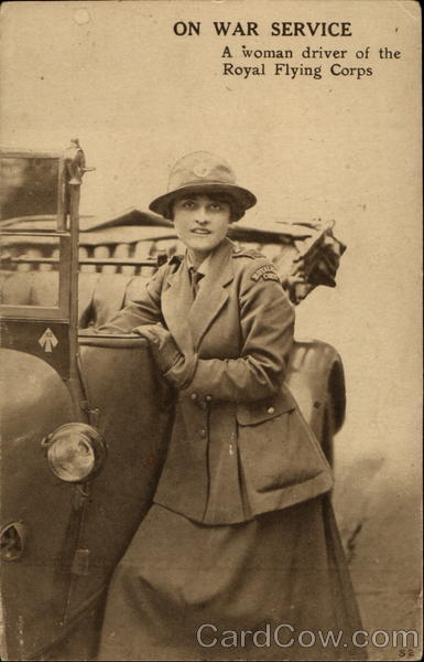 A woman driver of the Royal Flying Corps Military