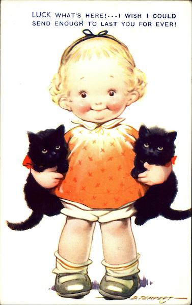 Halloween Girl with Black Kittens D. Tempest