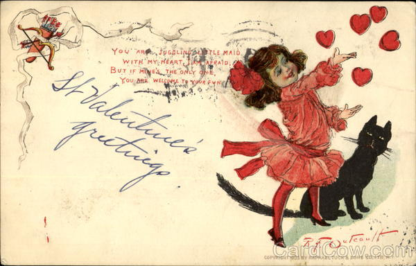 Valentine Girl & Cat R. F. Outcault Children