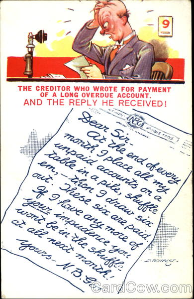 Creditor Who Wrote for Payment Comic, Funny