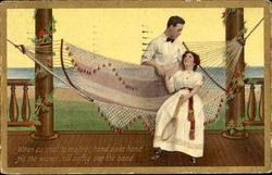 Couple Hammock, Tennis Postcard
