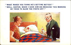 Sick in Bed Postcard