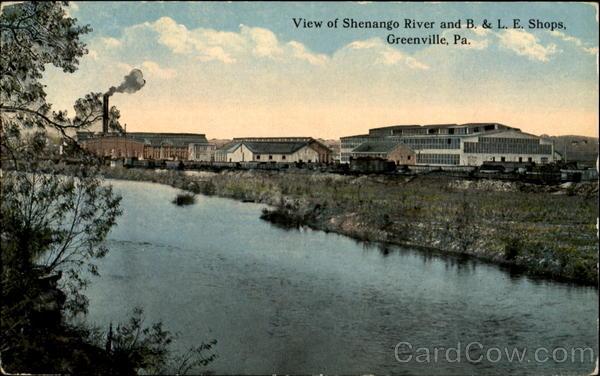 View Of Shenango River And B. & L. E. Shops Greenville Pennsylvania