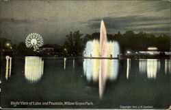 Night View Of Lake And Fountain, Willow Grove Park