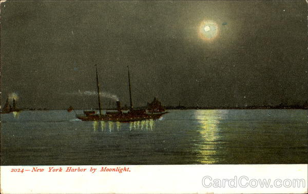 New York Harbor By Moonlight Boats, Ships