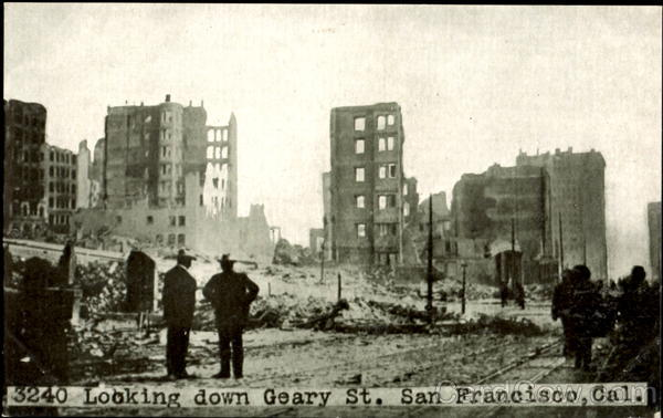 Looking Down Geary St San Francisco California Disasters