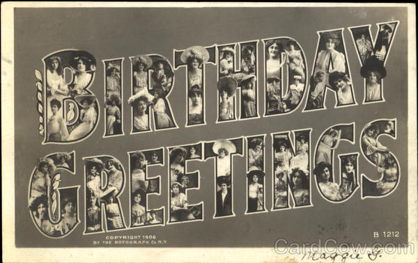Birthday Greetings Faces in Letters