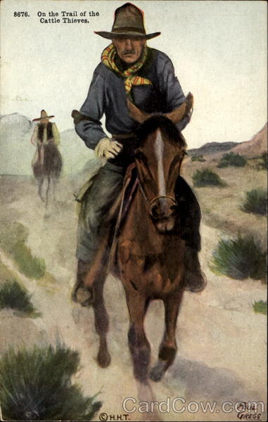 On The Strail Of The Cattle Thieves Cowboy Western