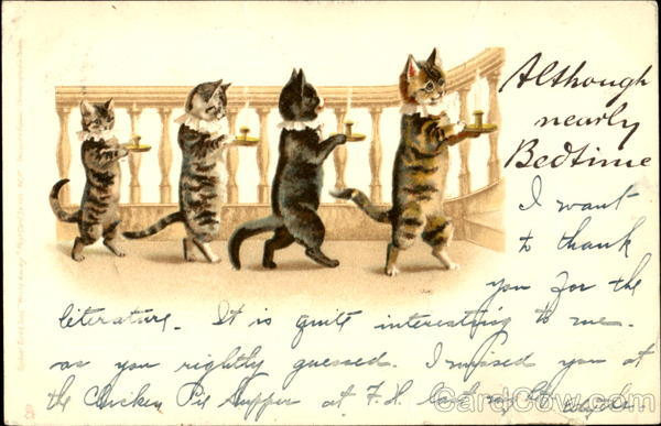 Kittens with Candles Louis Wain Cats