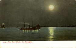 New York Harbor By Moonlight
