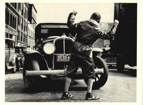 Photo shows a young boy being hit by an auto 1938 Art