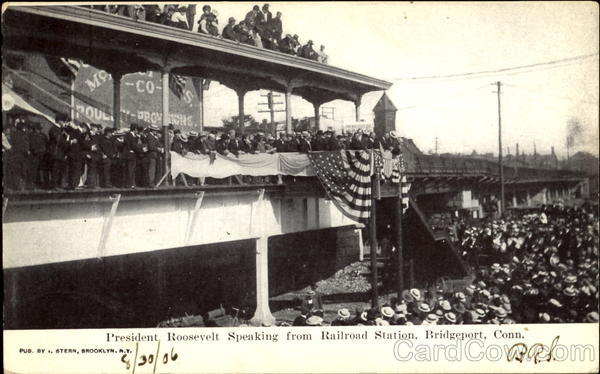 President Roosevelt Speaking From Railroad Station Bridgeport Connecticut