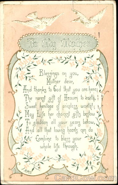 To My Mother Vintage Postcard