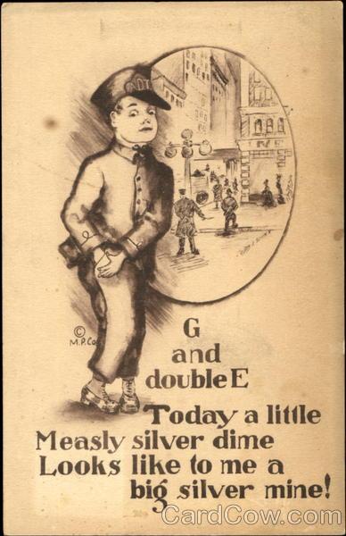 Silver Dime Vintage Postcard