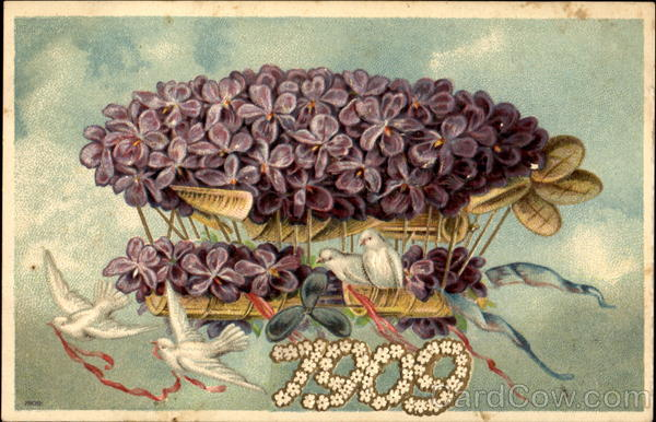 1909 Airship Figures Made of Flowers