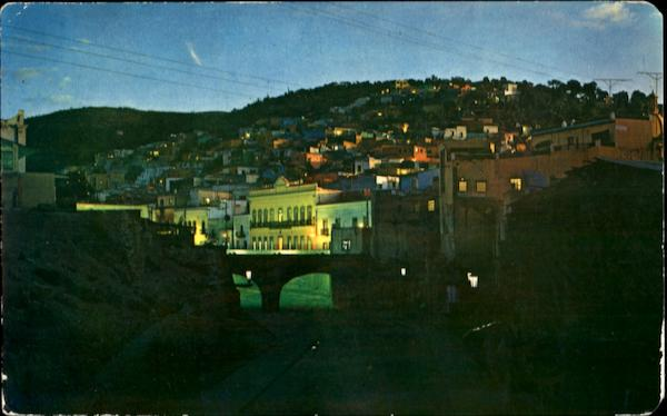 Panoramic And Subterranean Street Night View Guanajuato Mexico