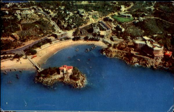 Air View Of The Morning Beach With The Hotel Caleta On The Right Acapulco Mexico