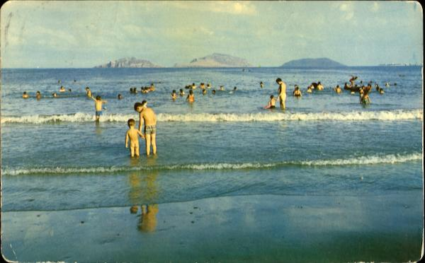 Morning Bathers At North Beach And The Three Islands Mazatlan Mexico