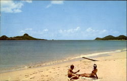 Reduit Beach With Pigeon Island In Background Postcard