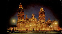 Night View Of The Cathedral Of Mexico City
