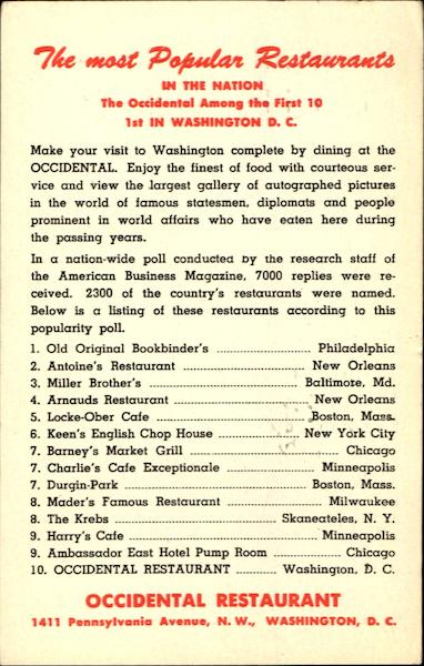 The Most Popular Restaurants Washington District of Columbia