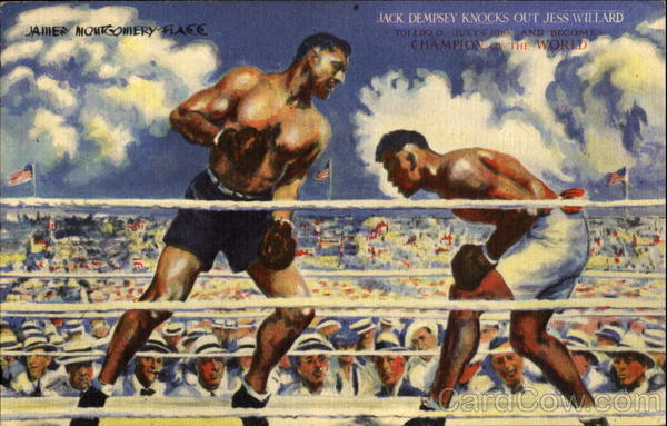 Jack Dempsey Knocks Out Jess Willard, Between 49th & 50th Sts New York City